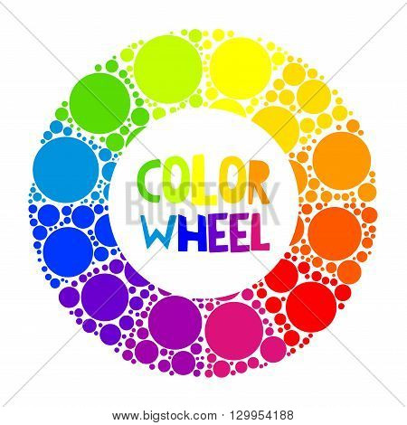 Color wheel palett or color circle isolated. The physical representation of color transitions and HSB.
