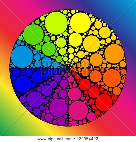 Color wheel palett or color circle. The physical representation of color transitions and HSB.