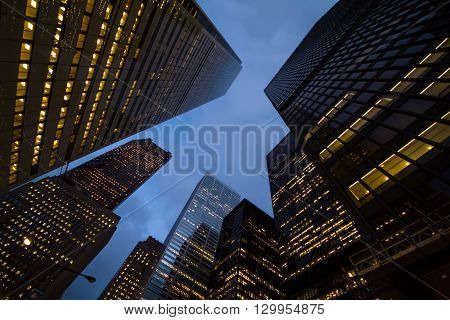 Night View Of Toronto City Skyscrapers; Look Up