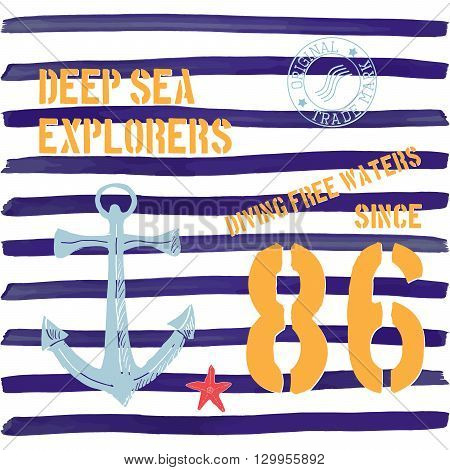 T-shirt Typography Design, Deep Sea Explorers Printing Graphics, Typographic Vector Illustration, Na