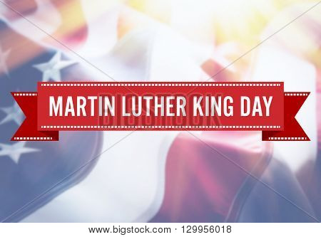 Martin Luther King Day sign on USA flag background