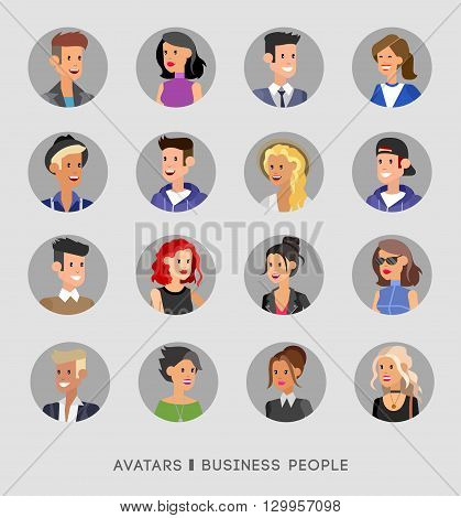 Cute cartoon human avatars set, big male and female faces collection. Vector detailed characters avatars people, business people avatars, men and women avatars. Business people avatars