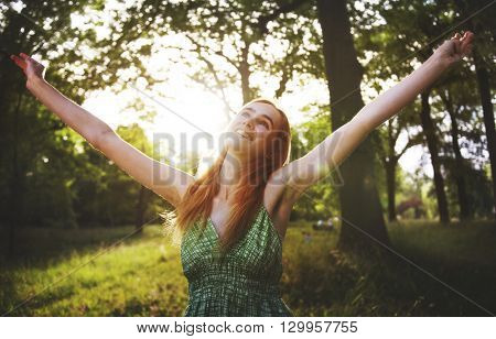 Woman Cheerful Happiness Freedom Carefree Nature Park Concept