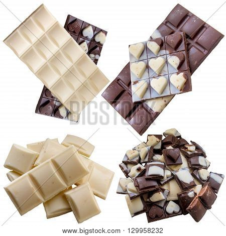 White milk dessert food sweet snack chocolate broken bar isolated.