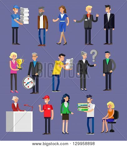 Vector detailed characters people, business people men and women in action. Business people shake hands, with a briefcase, secretary, big boss, startup man, colleagues, business people lifestyle poster