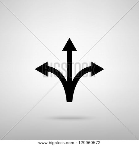 Three-way direction arrow sign. Black with shadow on gray.