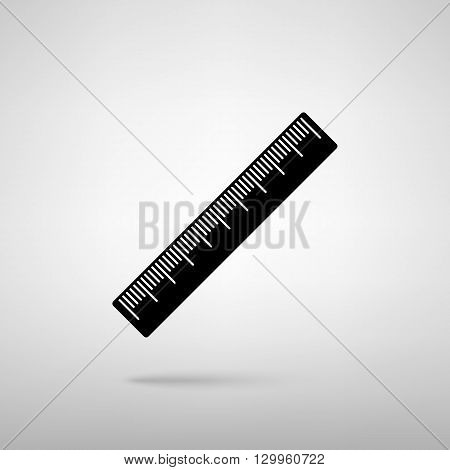 Centimeter ruler sign. Black with shadow on gray.