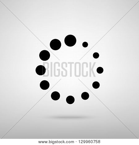 Circular loading sign. Black with shadow on gray.