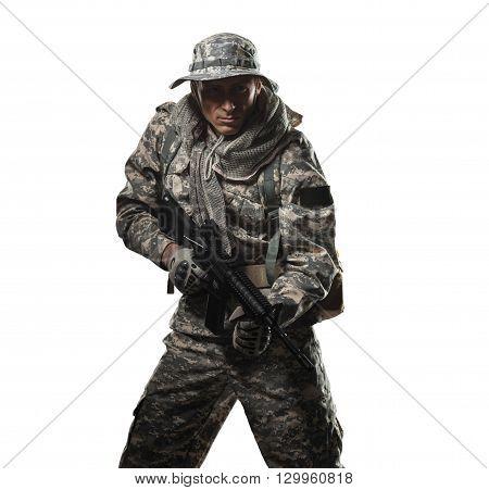 Soldier Man Hold Machine Gun On A White Background