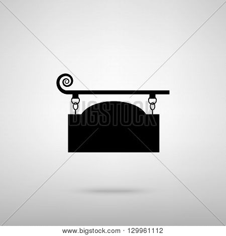 Vector wrought iron sign for old-fashioned design. Black with shadow on gray.