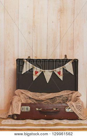 Cards White Wedding Letters Hanging Sign In The Suitcase On Light Wooden Background