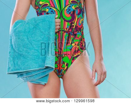 Woman Girl In Swimsuit With Towel.