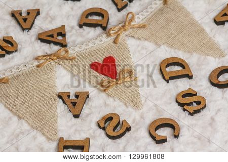 Letters And Rustic Flag With Red Heart