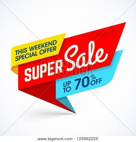 Super Sale, this weekend special offer banner, up to 70% off. Vector illustration.