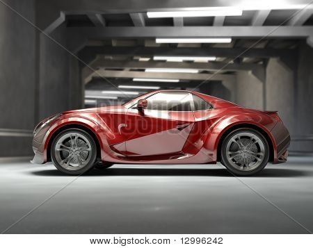 red concept car. My own car design. Not associated with any brand.