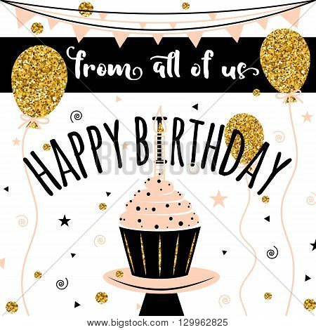 Happy Birthday vector card. Happy Birthday Background with golden balloons. HAPPY BIRTHDAY  - golden text. Happy Birthday template for banner, flyer, brochure, gift certificate, party invitation.
