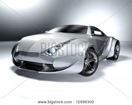 Silver sports car. My own car design. Not associated with any brand.