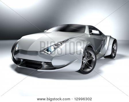 Silber Sportwagen. meine eigene Auto-Design. keiner Marke zugeordnet.