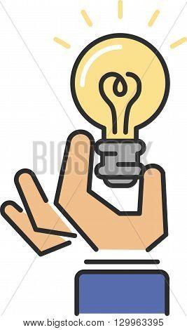 Idea symbol bulb lamp and idea icon concept. Power design lightbulb idea in hand, innovation creativity business idea. Light lamp sign idea icon concept bulb light in hand line art vector illustration