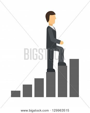 Business man climbing up on hand drawn staircase concept. Business success progress up step career ladder and opportunity achievement career ladder. Work businessman career ladder leadership ambition.