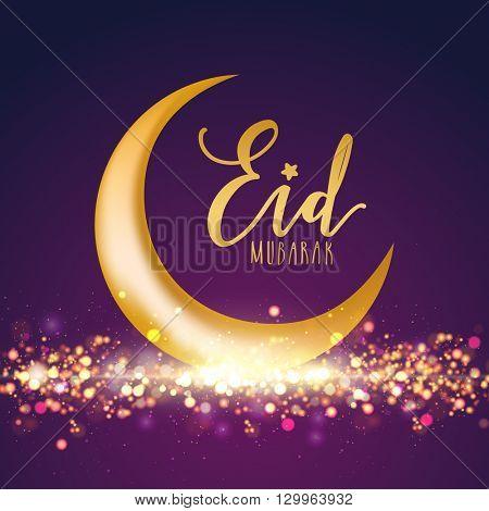Glossy Golden Crescent Moon on glowing purple background, Beautiful greeting card design for Islamic Famous Festival, Eid Mubarak celebration.