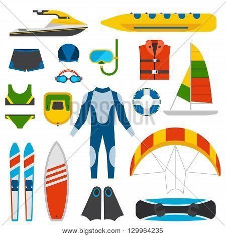 Summer beach party fun entertainment vector illustration. Beach diving equipment, summer fun entertainment. Summer fun entertainment. Holiday vacation leisure sun beach party festival travel icons.