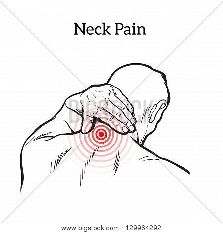 Pain in the neck of a man, vector sketch illustration isolated, man holding his hand sore neck, spine disease or muscle overexertion, human neck injury,  black and white illustration