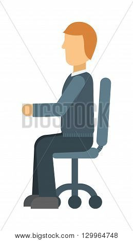 Confident smiling young businessman sitting on chair isolated on white. Sitting man vector and sitting man  male young people. Sitting man one office portrait confident happy guy, business casual men.
