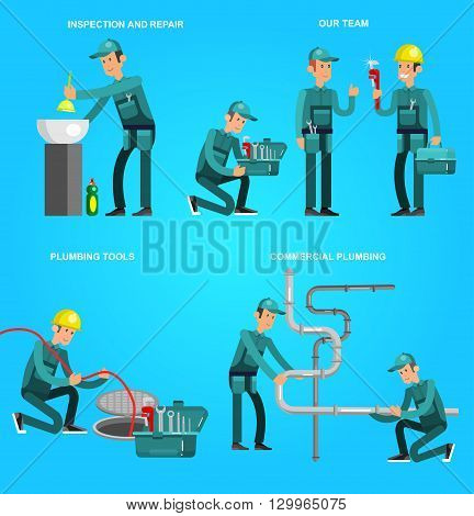 detailed character proffesional plumber men set , plumber repair professional, plumber fixing water pipes. Vector plumber set. Illustration plumber character.