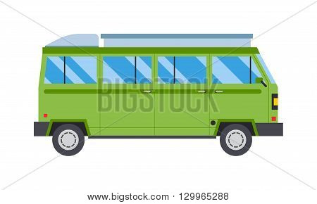 Creative green travel car illustration traveling vacation. Minivan green travel car with luggage and tropical green travel car. Green travel car journey nature vacation tourism world.