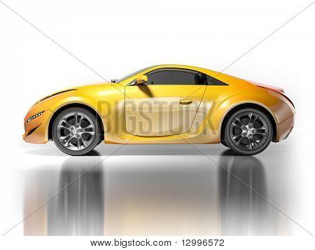 Sportwagen, isolated on White.  Mein eigenes Auto-Design. Keine Marke zugeordnet.