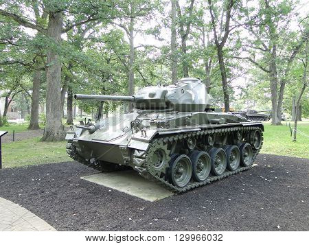 M24 Chaffee.  American light tank used during the latter part of World War II and in postwar conflicts.
