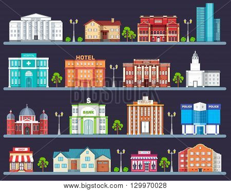 Flat colorful vector city buildings set. Icon background concept design. Architecture construction: courthouse, home, museum, skyscraper, hospital, hotel, opera, theater. Vector urban landscape