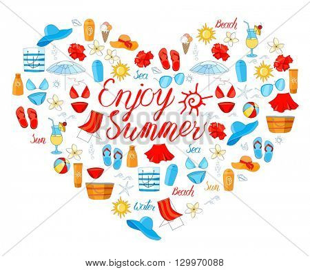 Shape heart with summer symbols for your design isolated on white