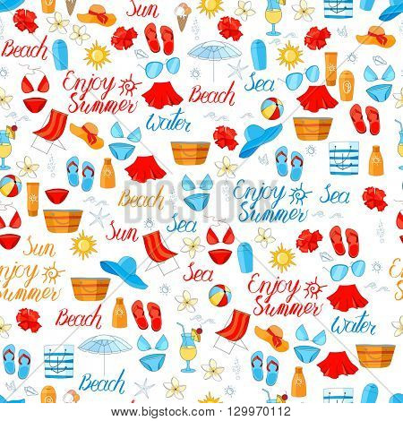 Seamless bright pattern with calligraphy phrase Enjoy Summer and sea objects.Color, red, blue,yellow. Endless texture with summer symbols for your design