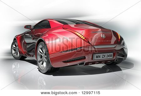 Red sports car.  My own car design.