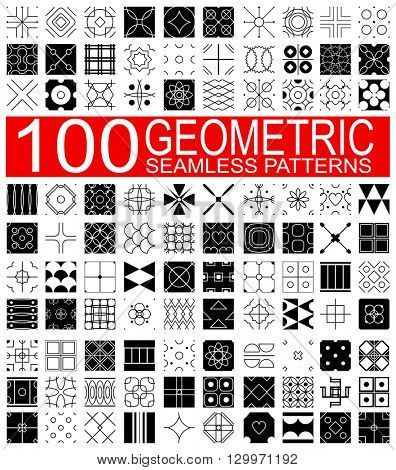 Set of 100 different vector geometric seamless patterns (tiling) of black and white color. Endless texture can be used for pattern fills, web page background, surface and textile textures, wallpaper