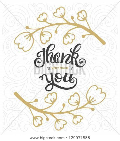 Thank you. Hand lettering sign for a card. Template thanksgiving cards calligraphy