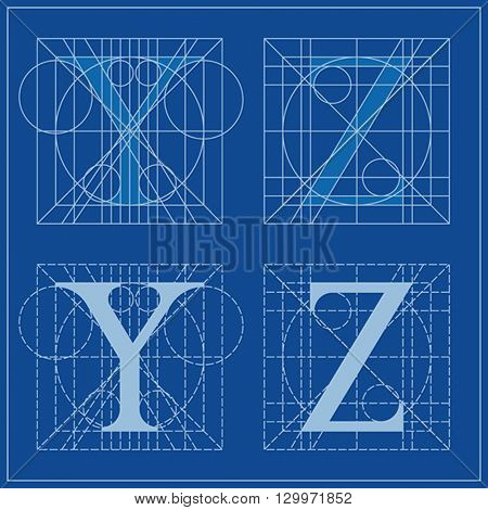 Designing Initials, letters Y and Z, blueprint.