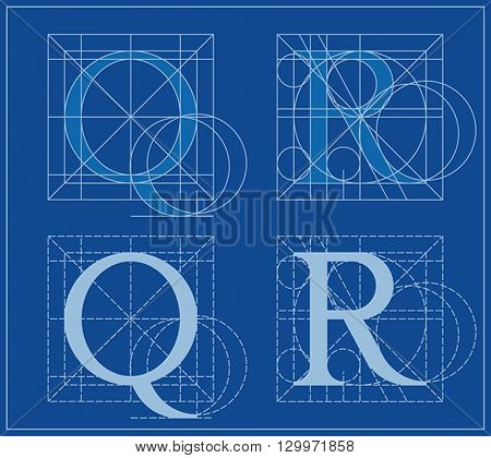 Designing Initials, letters Q and R, blueprint.