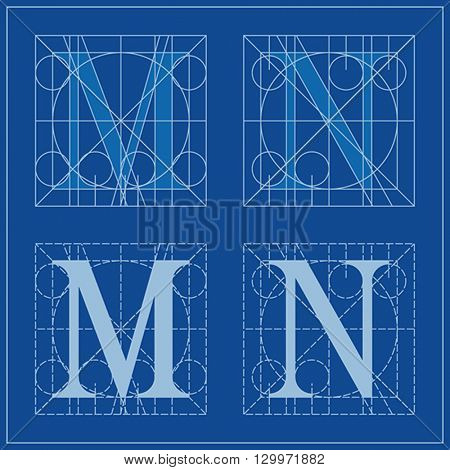 Designing Initials, letters M and N, blueprint.