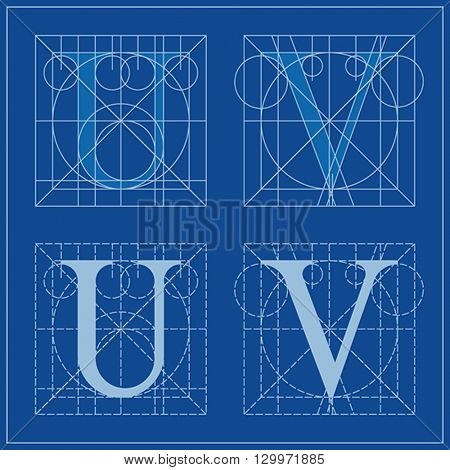 Designing Initials, letters U and V, blueprint.