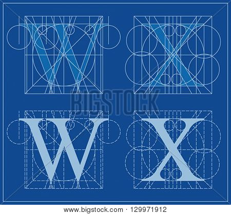 Designing Initials, letters W and X, blueprint.