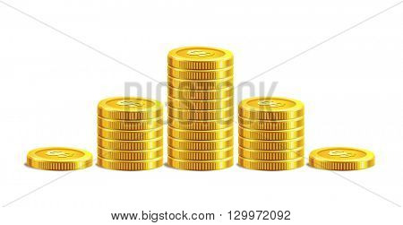 Vector Illustration of golden coins. Isolated on white.