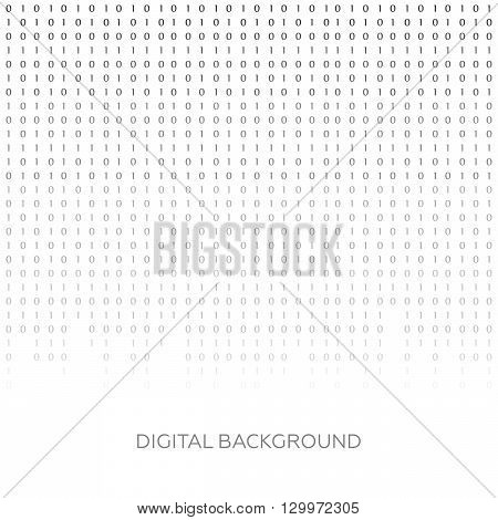 Binary code black and white background with digits on screen. Algorithm binary, data code vector