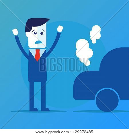 Businessman, car broke down vector eps 10