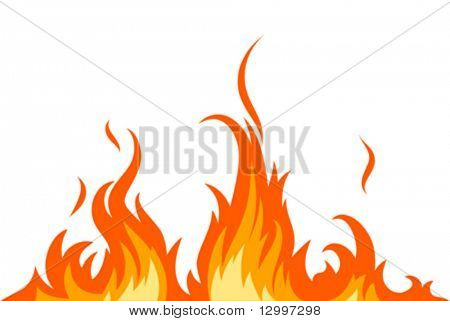 Vector fire on white