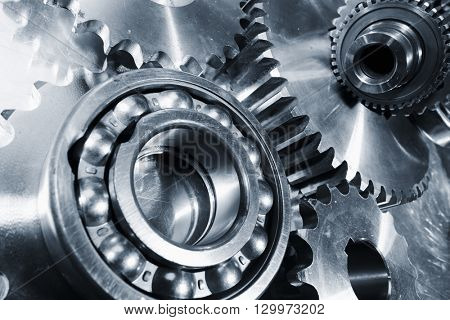 giant steel ball-bearings and titanium gear parts, engineering concept