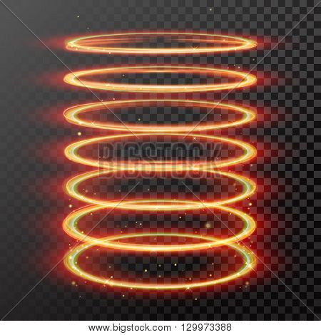 Vector light gold circle effect. Glowing fire ring trace. Glitter magic sparkle swirl trail effect on transparent background. Bokeh glitter round wave line with flying sparkling flash lights.
