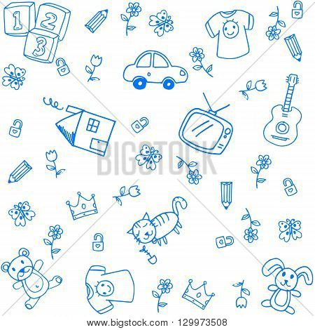 Blue funny draw doodle art for kids